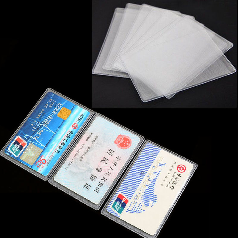 10PCS PVC Transparent Credit Card Holder Protect ID Card