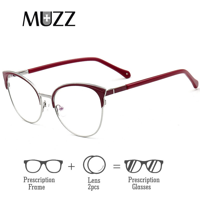 MUZZ Retro Cat Eye Frame Optical Prescription Glasses Myopia Eyeglasses Eyewear
