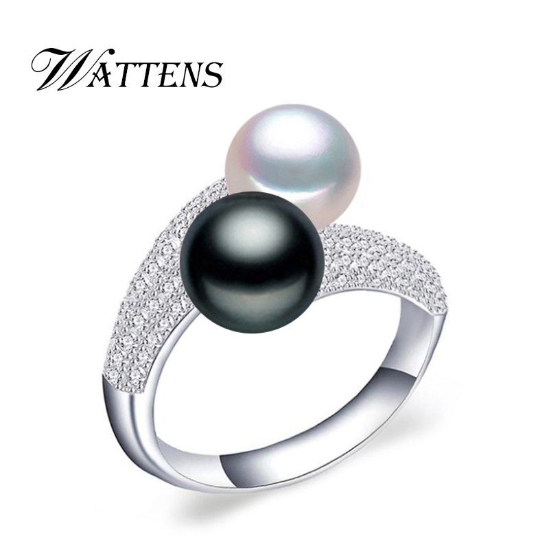 WATTENS new Pearl Jewelry,natural freshwater double Pearl rings,wedding 925 silver rings for women,Engagement Jewelry for love black cool new 925 silver polishing cloth 100pcs each plastic bags free for pearl golden jewelry rings necessity quality 11 7cm
