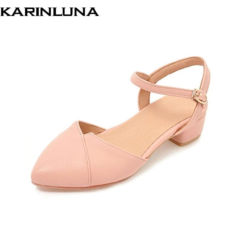 KARINLUNA új női csattal heveder szilárd tér kis sarkú hegyezett - Női cipő