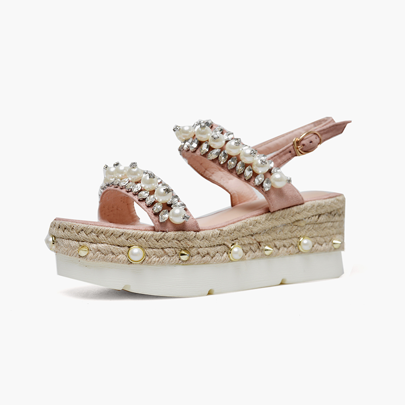 Apoepo Summer High Quality Wedge Sandal for Woman Rope Braided platform Sexy Shoes white pearls beaded buckle strap summer shoe apoepo fashion patent leather wedge sandal for woman super high ankle strap platform shoes rope braided buckle strap summer shoe