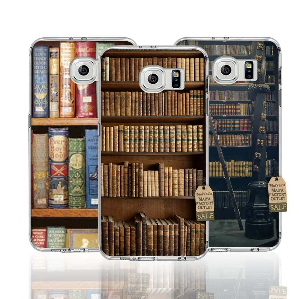 Estante de libros de la biblioteca teléfono accesorios cubierta transparente tpu