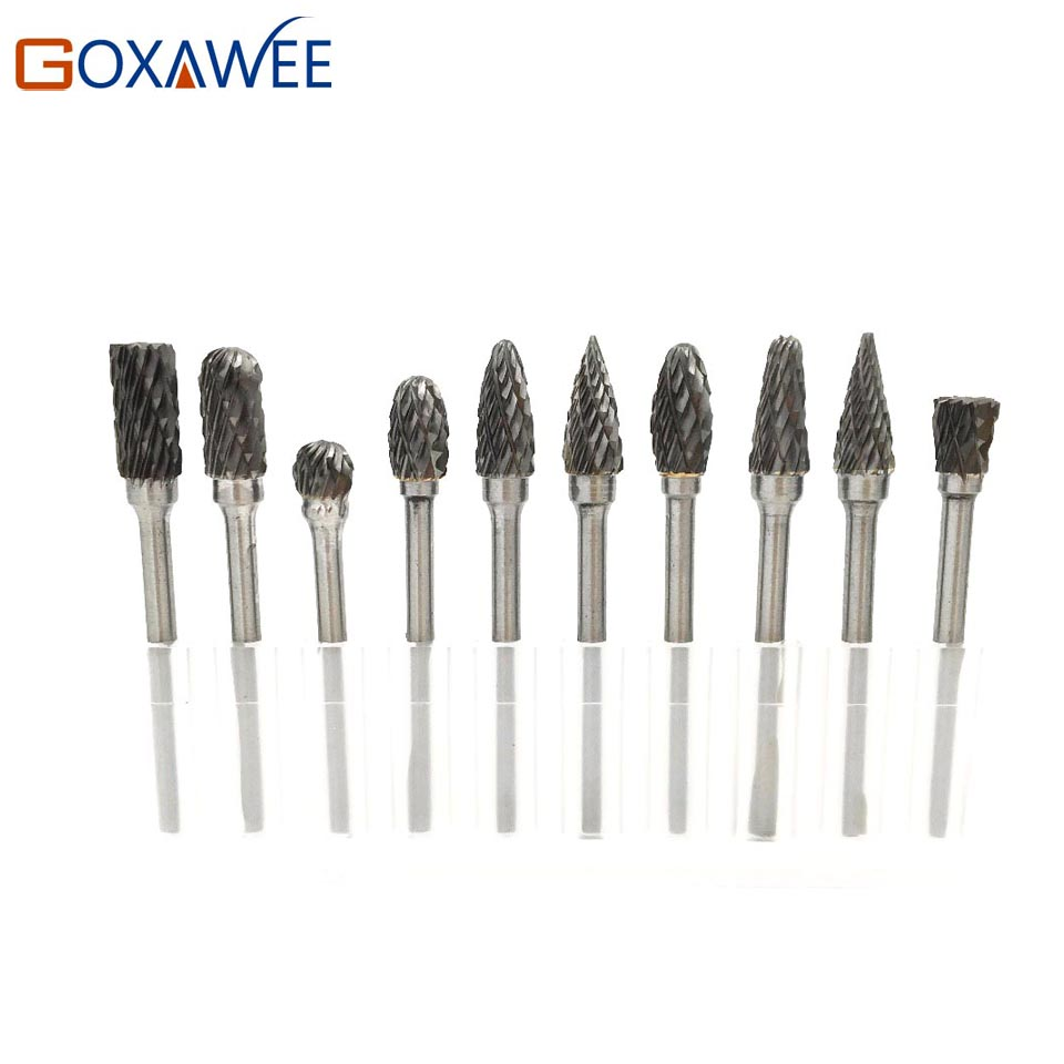 GOXAWEE 3*6 Mm Rotary File Tungsten Carbide Cutter Bur Drill Bit Woodworking Milling Cutter Polishing Tool For Dremel RotaryTool