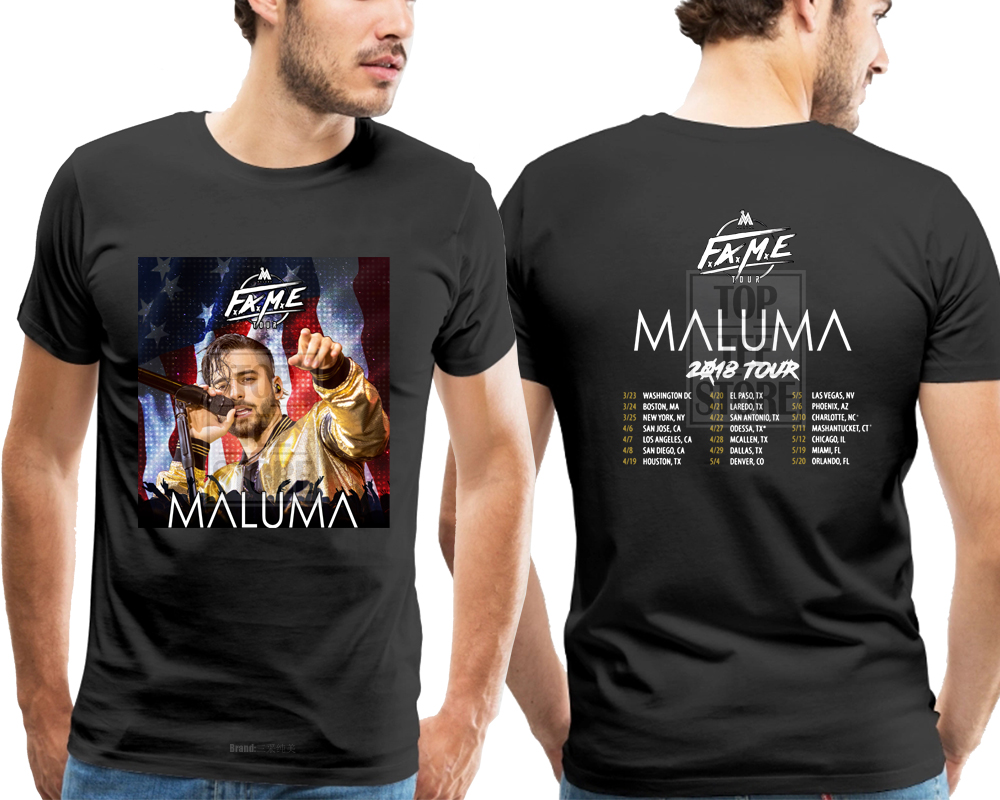 Crew Neck Short Sleeve Mens Tee Shirt Maluma Fame Tour 2018 Tshirt