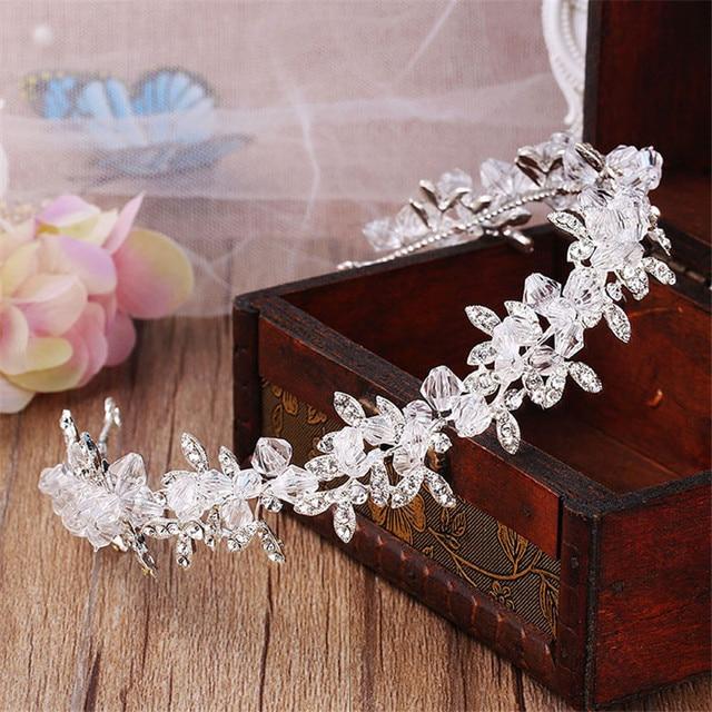 Handmade Clear Crystal and Beads Wedding Tiara Bride headbands Women Prom  Headdress Wedding Bridal Hair Jewelry 93cf9c71e13d