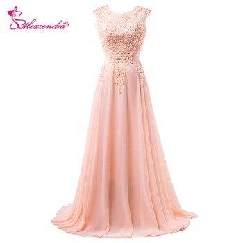 Alexzendra Scoop Neckline A Line Pink Prom Dresses V Back Applique Chiffon Evening Dresses Party Dress vestidos