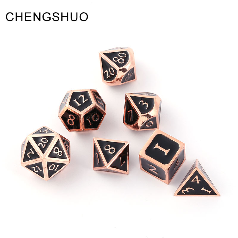 Chengshuo dnd dice metal rpg sets polyhedral dungeons and dragons d20 10 8 12 table games Zinc alloy black dices pattern digital