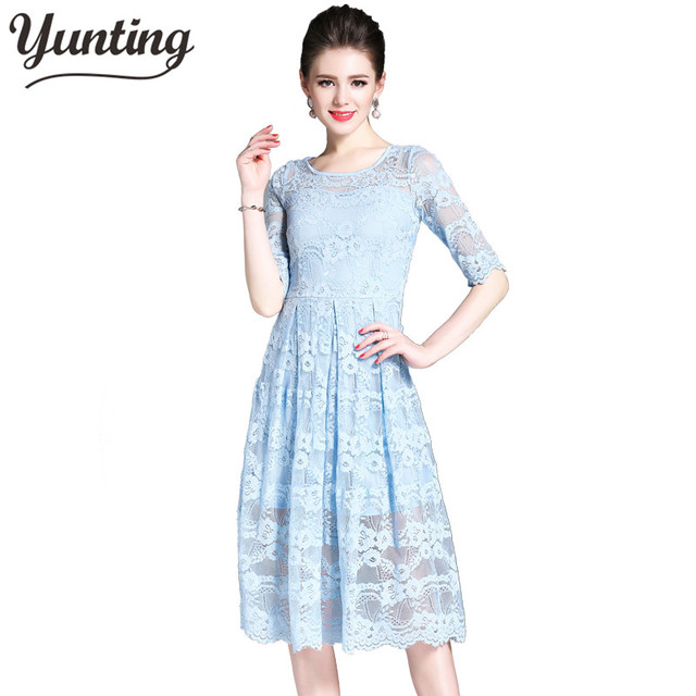 Ladies Hollow Out Lace Dress Womens Elegant Sexy Crochet Party