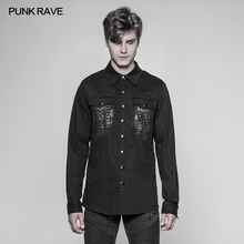 Punk Rave  Mens Gothic Shirts Fashion Cowboy Long Sleeve Turn-down Collar Personality Motocycle Streetwear Blouse girls plaid blouse 2019 spring autumn turn down collar teenager shirts cotton shirts casual clothes child kids long sleeve 4 13t