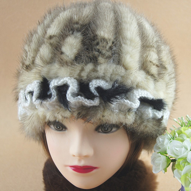 H367~2016 new arrival autumn white brown genuine mink cap with lace, knitted Wholesale winter women hat with fur.