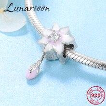 Розовый эмалированный цветок CZ амулеты бусины болтающиеся бутон Серебро 925 Подходит Пандора Шарм Браслеты кулон ювелирные изделия изготовление подарков