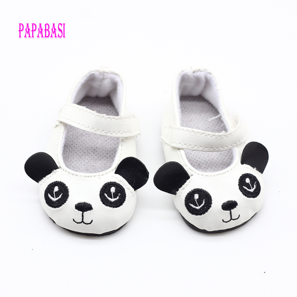 18 inch 45CM American Girls Dolls Cute Panda Leather Shoes For Alexander Doll Accessory Baby Born Mini Toys shoes