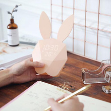 Lovely Design Animal Shape Digital Alarm Clock LED Luminous Night Light Wall Clocks For Home Decoration