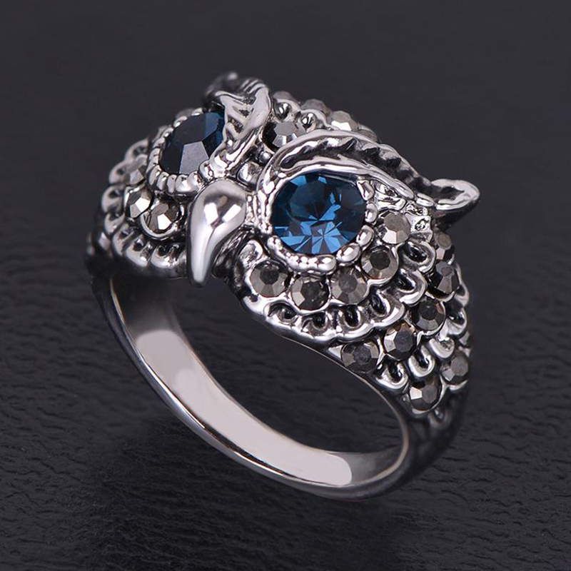 High Quality Trendy Jewelry Retro Cooper Owl Ring with Rhinestone White Gold Finger Rings for Love's(AKA0005-2)