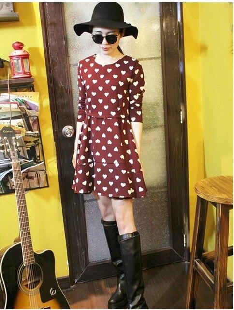 Primavera 2015 nova Summer Fashion bonito uma linha vestido de Chiffon Mini vestido O pescoço de manga comprida Sweet Heart imprimir com caixilhos duas cores