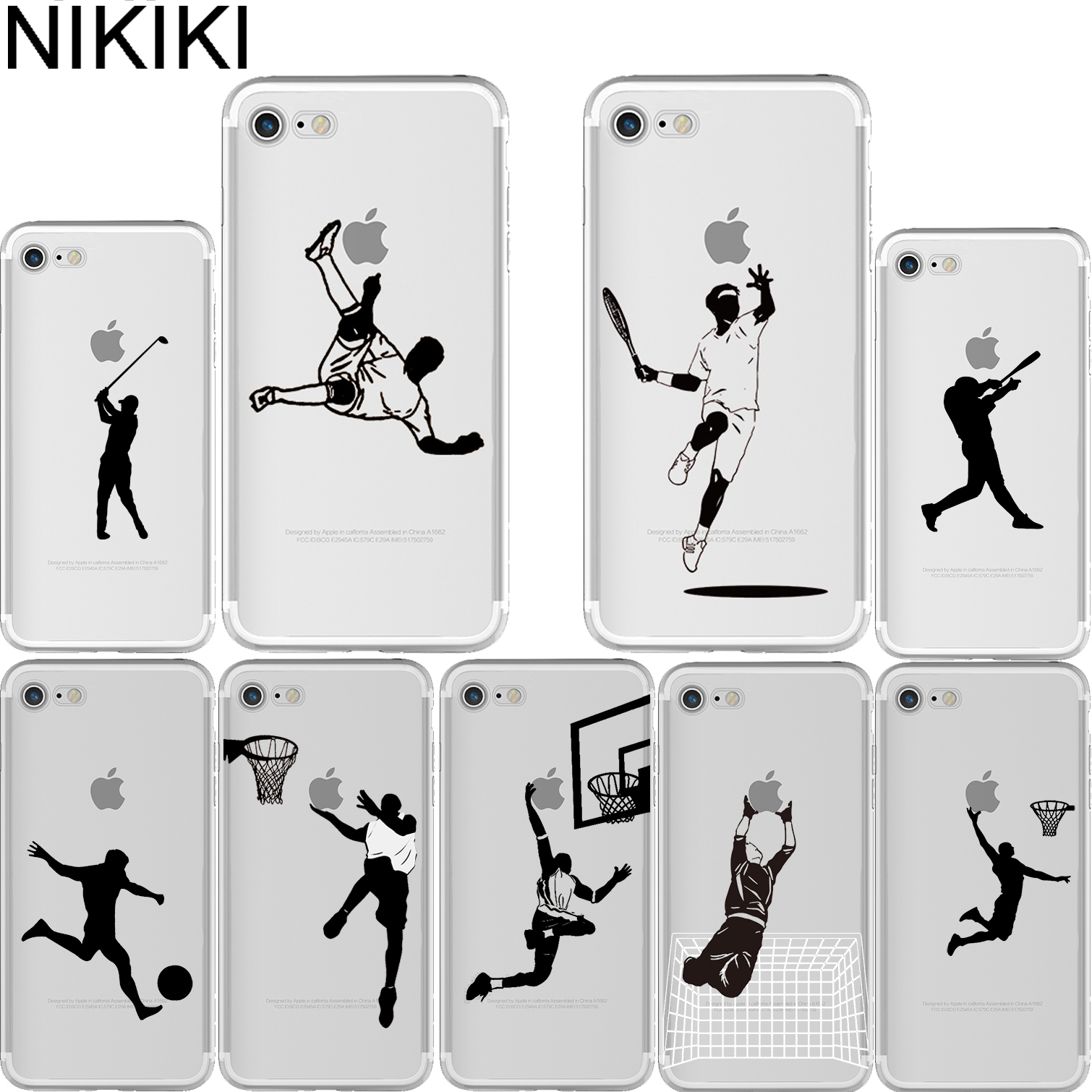 NIKIKI Baseball Football Tennis Golf Sports Athlete Silhouette Soft Silicone Phone Cases Cover for Iphone 6 6S 7 8 Plus 5S SE X