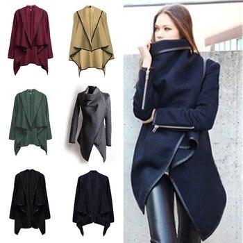 Women Woolen Windbreaker Coat Plus Size 1