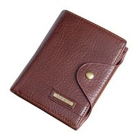 Top Sale 1x PU leather Men's leisure multi-functional buckle wallet, Brown vertical section 11.5*9.5*3cm