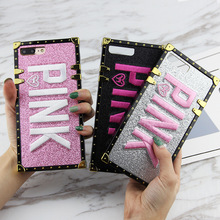 Brand PINK Case For Iphone XS Max X XR 6 6s 7 8 Plus Square Samsung Galaxy S8 S9 Note 9 Bling Glitter Secret Cover