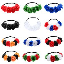 12 Colors Christmas Halloween Elastic Headband Women Girls Contrast Color Artificial Blooming Flower Hairband Party Photo Props