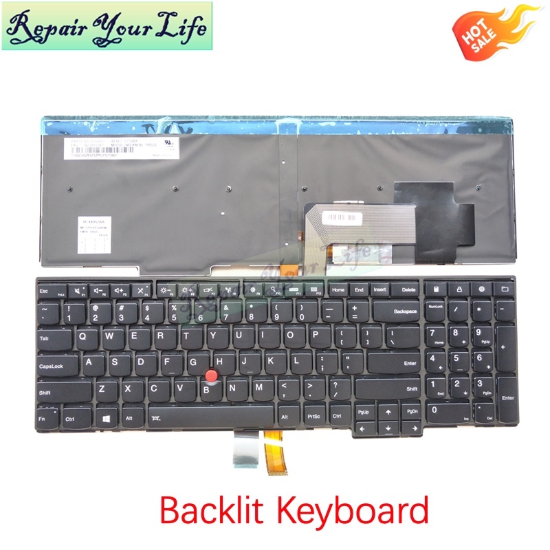 With Frame Backlit US Keyboard for Lenovo ThinkPad E531 L540 W540 T540P E540 Laptop Keyboard Test Good PN:0C44952 04Y2387 57100Y image