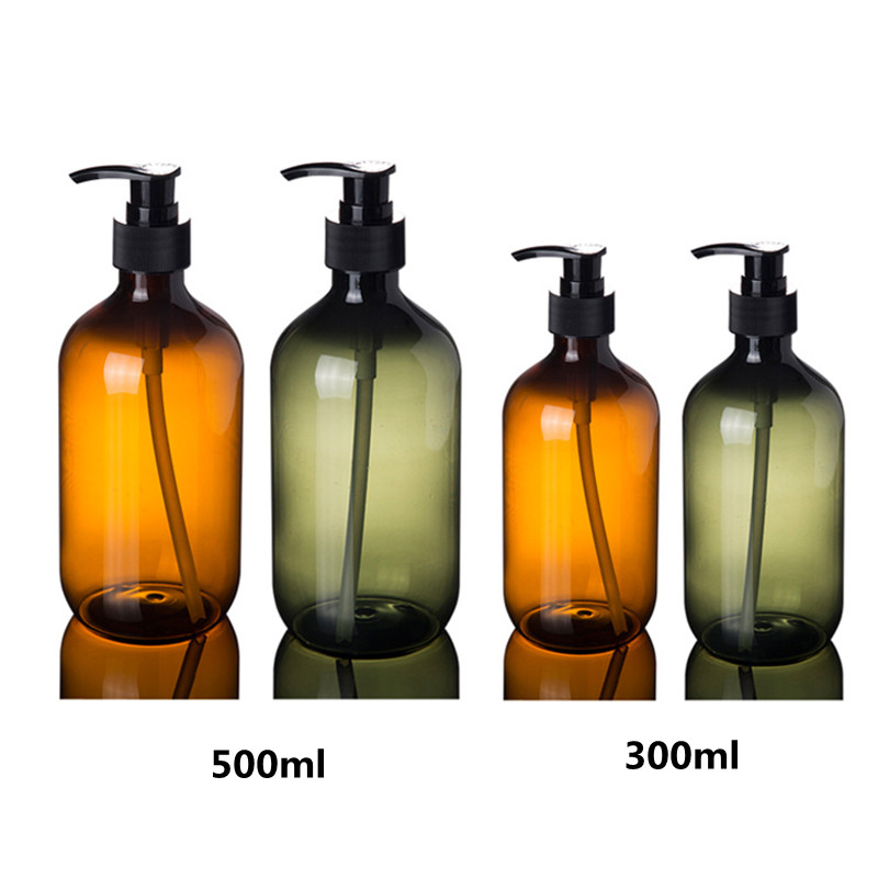2ps 300ml 500ml Plastic Lotion Bottles with  Lotion Pump for Shampoo, Personal care,Lotion Refillable Boston Bottles Home Reuse-in Refillable Bottles from Beauty & Health
