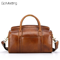 Vintage Brush color Genuine Leather Women Handbags Fashion Women Shoulder Messenger   Bags   Original Casual Boston Crossbody   Bag