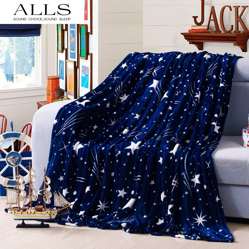 Flannel Blanekts On The Bed Blue White Star Throw Blanket