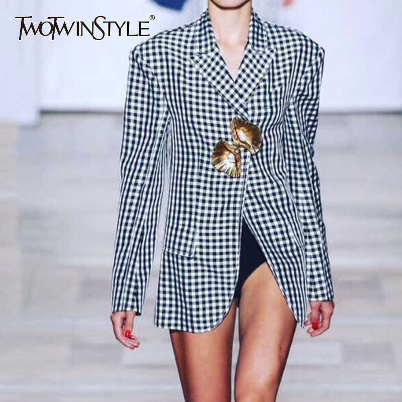 TWOTWINSTYLE Plaid Blazer Female Buttons With Pearl Long Sleeve Coat Women's Spring Jacket Large Size Vintage New Clothing