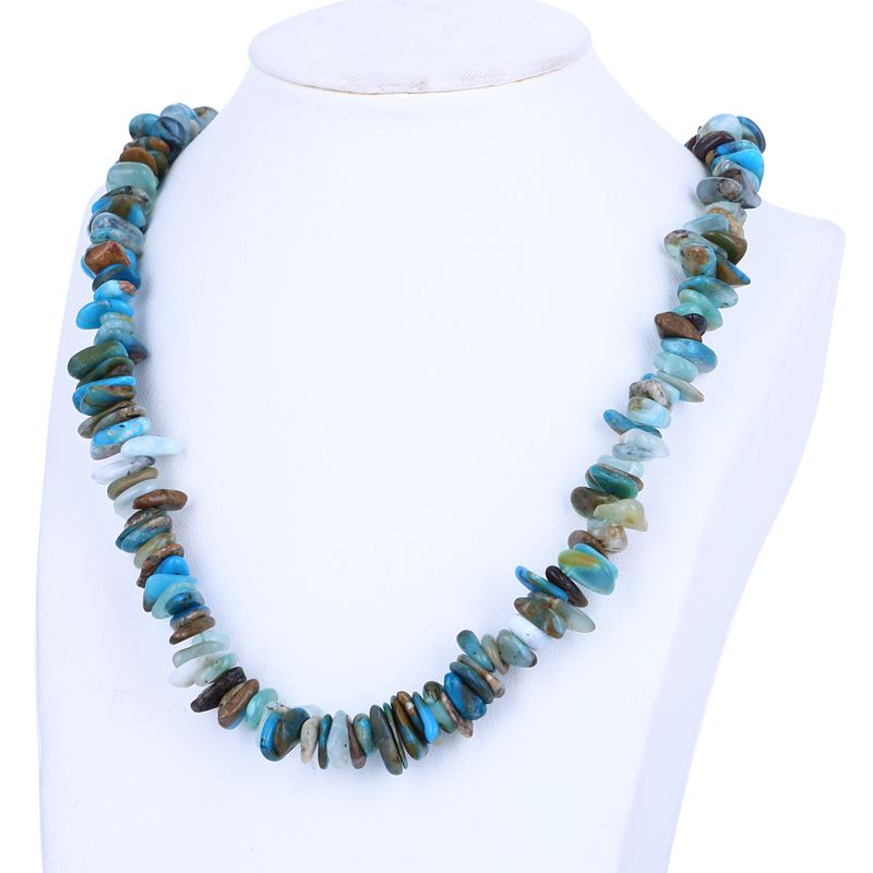 Nugget Blue Opal fashion women necklace,semiprecious fashion jewelry necklace,long 40mm,45.8gNugget Blue Opal fashion women necklace,semiprecious fashion jewelry necklace,long 40mm,45.8g