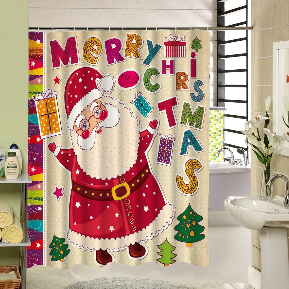 Santa Claus Christmas Waterproof Fabric Bath Shower ...