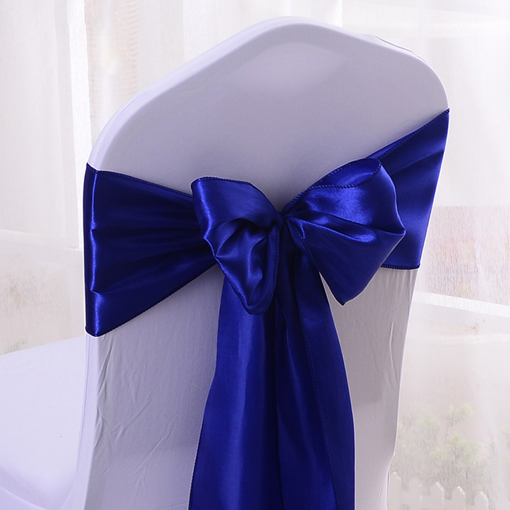Royal Blue Chair Us 14 39 10 Off Wholesales 10pcs Royal Blue Satin Chair Bow Sashes Ribbon Wedding Reception Banquet Decoration 6 7
