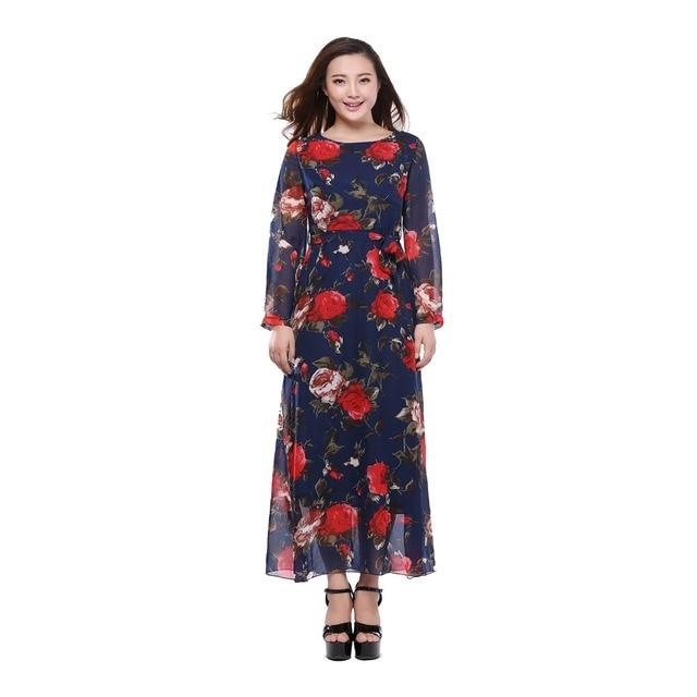 fa7469881cf Dresses For Women Spring Autumn Maxi Dress 2018 Chiffon Long Sleeve  Vestidos European Print Floral Plus
