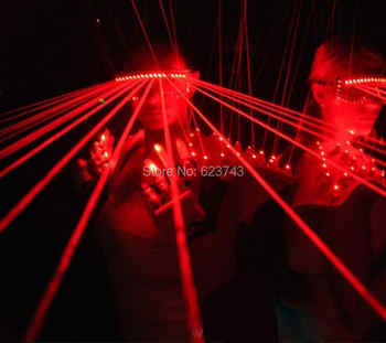 Free Ship 1Piece Red Laser Shades DJ Dancing Stage Show Light with 10 Pcs lasers LED glasses light for DJ Club/Party/Bars - DISCOUNT ITEM  6 OFF Lights & Lighting