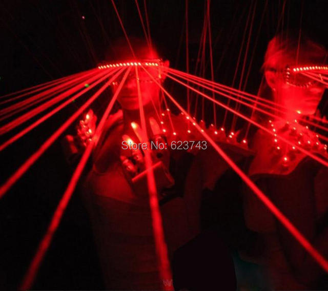 Free Ship 1Piece Red Laser Shades DJ Dancing Stage Show Light with 10 Pcs lasers LED glasses light for DJ Club/Party/Bars