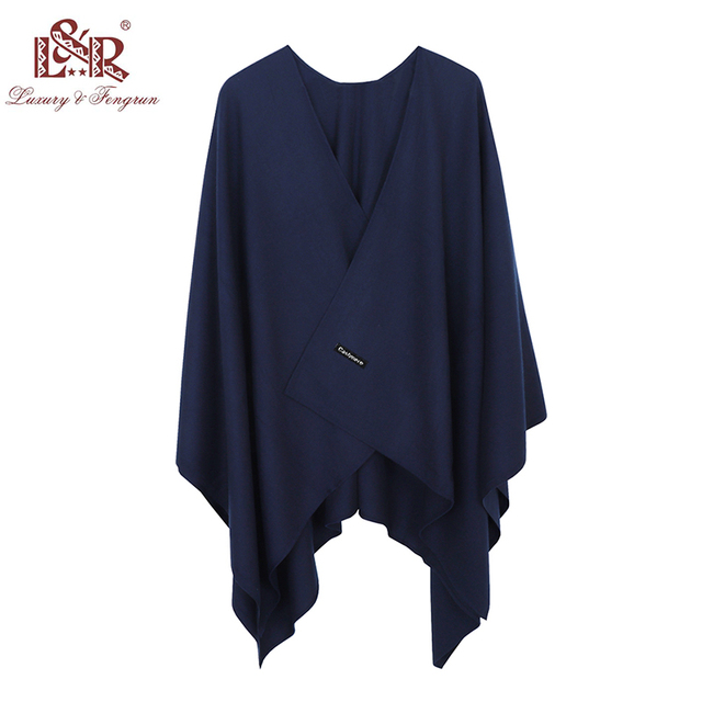 2020 140*140mm Winter Square female Poncho Cashmere Wool Women Poncho Scarf  Solid Foulard Femme Pashmina Shawl Winter Excharpe 2