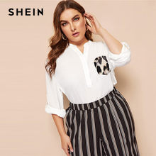 dbc268bb48c SHEIN White OL Casual Leopard Print Pocket Patched Rolled Tab Sleeve Plus  Size Blouses Women Casual Half Placket V Neck Tops