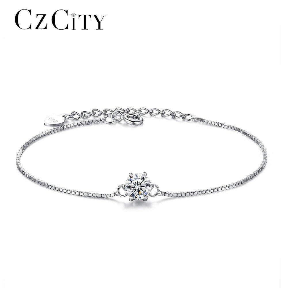 CZCITY 925 Sterling Bracelet En Argent pour les Femmes Véritable 925 Argent Six Griffes Classique Zircon Chaîne Parti Bracelets Bijoux Cadeau