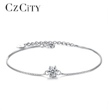 CZCITY 925 Sterling Silver Bracelet for Women Genuine 925 Silver Six Claws Classic Zircon Chain Bracelets Party Jewelry Gift