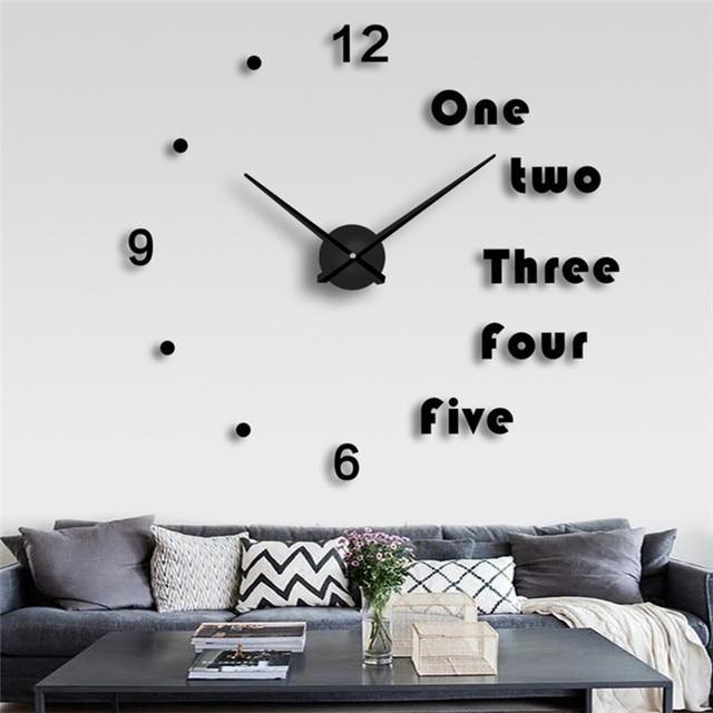 Living Room Clocks Next Theater Restaurant Menu High Quality 3d Wall Clock Stickers Creative Fashion Large Diy Home