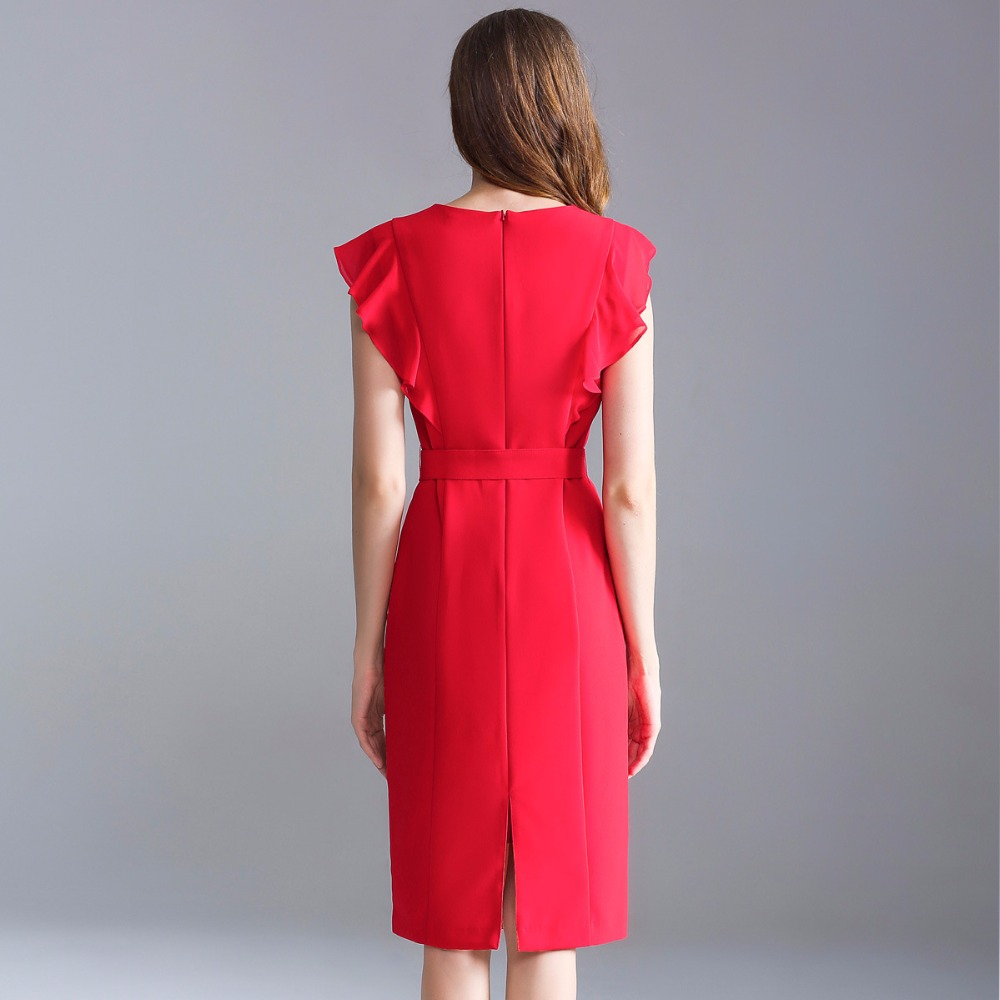 De cou Robe D'o Qualité Livraison Rouge Robes Neuf Travail Printemps Été Femmes Dames Gratuite Crayon 2018 Noir Parti rouge Haute Vêtements Noir dUTqttn