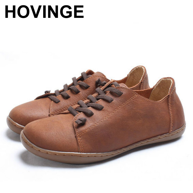 HOVINGE   Women Shoes Flat Authentic genuine Leather Plain toe Lace up Ladies Shoes Flats Woman Moccasins Female Footwear (China)