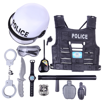 New Popular 11Pcs Children Pretend Play Toys Simulation Policeman Role Play Kits For Boys Kids Playing Set