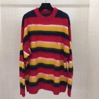 Взлетно посадочной полосы Свитер в полоску Для женщин с длинным рукавом осень пуловер, вязаные свитера женские 2018 Повседневное