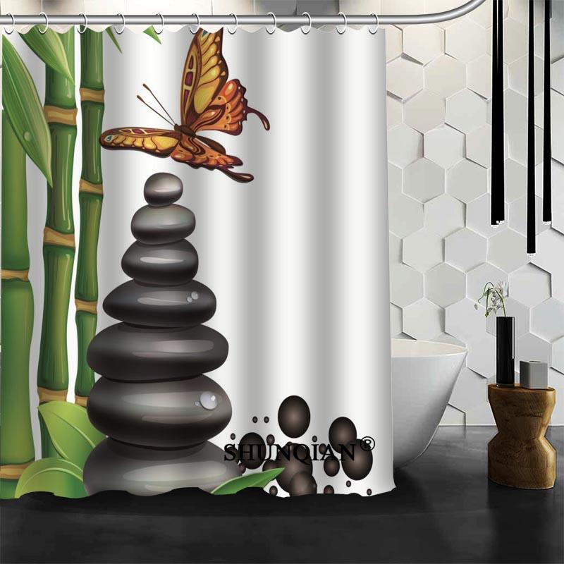 custom stone bamboo shower curtain bathroom accessories polyester fabric curtain with holeschina