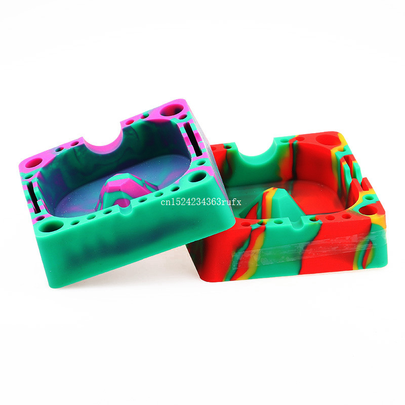 30pcs Rubber Silicone Ashtray Eco Friendly Square Shatterproof Cigar Ash Trays Cinzeiro Smokeless Holder Wholesale
