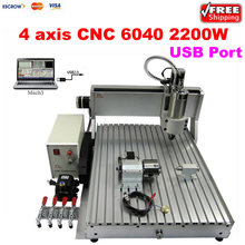 Factory Supply!  2.2KW USB CNC 6040 Universal Woodworking Machine stone aluminum Bronze 4 AXIS cnc router lathe