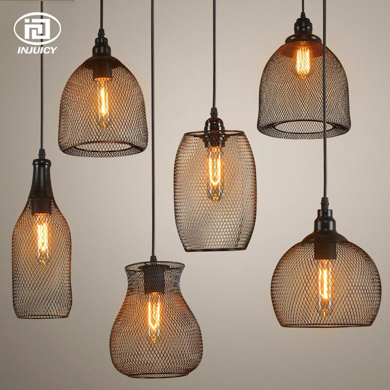 ロフトヴィンテージ提灯ペンダントライトレトロ工業鉄グリッドシェード天井ランプレストランコーヒーバーダイニングルーム照明  グループ上の ライト & 照明 からの シーリングライト の中 1