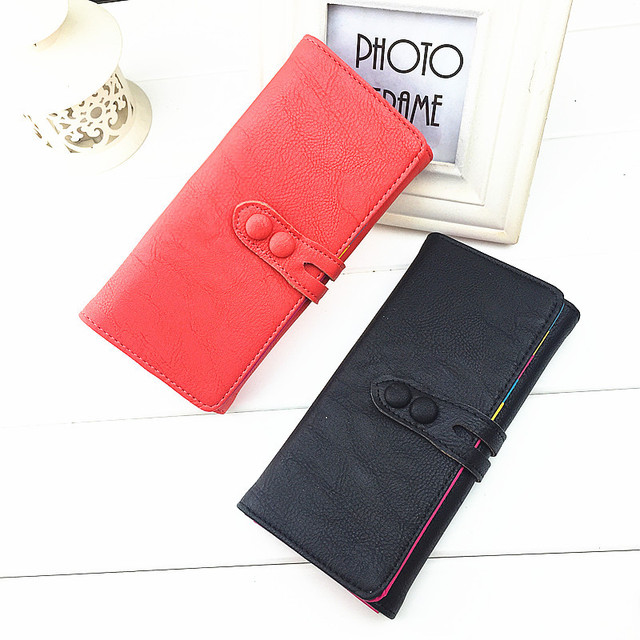 SWALLOW Casual Colorful Fold Women Purse Hasp Long Style Women Wallets With Card Holder Photo Holder Coin Pocket