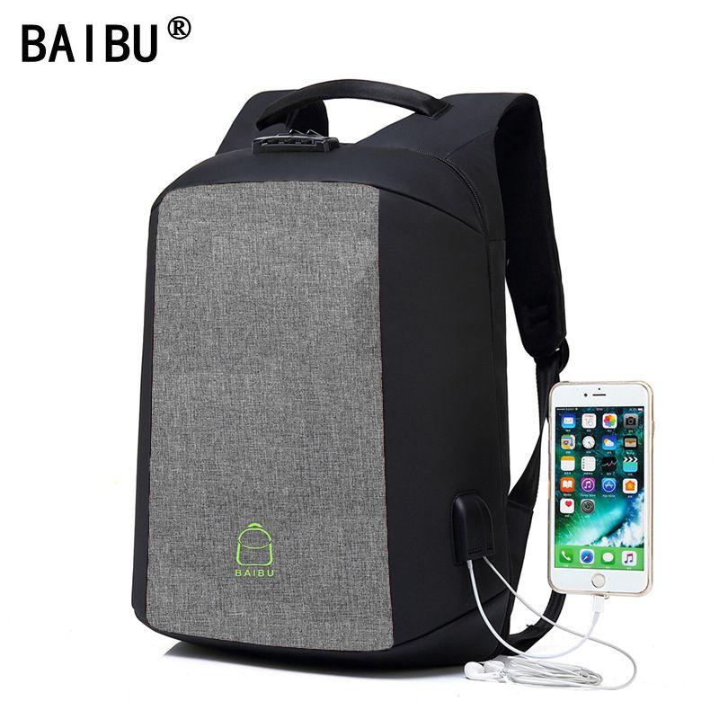 BAIBU de carga USB ordenador portátil mochila Anti-robo código de bloqueo bolsa de gran capacidad auriculares agujero hombro mochila para los adolescentes